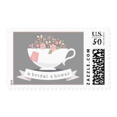 Teacup & Pink Floral Personalized  Postage