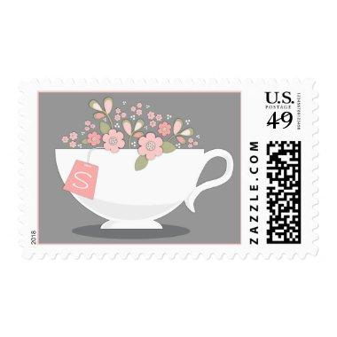 Teacup & Pink Floral Personalized Tea Party Stamp