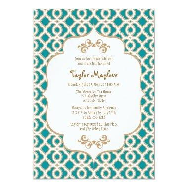 Teal and Gold Moroccan  Invites