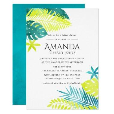 Teal and Lemon Tropical Bridal Shower Invitations