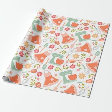 Teal and Peach Vintage Kitchen Pattern Wrapping Paper