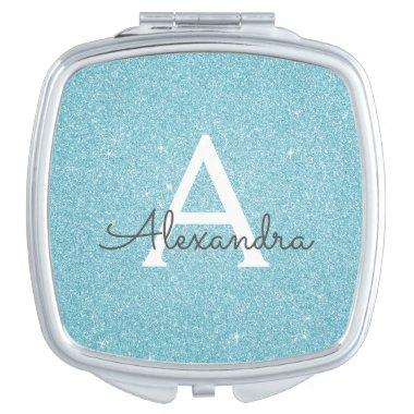 Teal Aqua Blue Glitter and Sparkle Monogram Compact Mirror