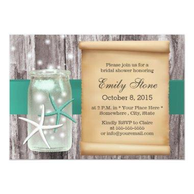 Teal Belt Starfish & Mason Jar Wood Bridal Shower Invitations