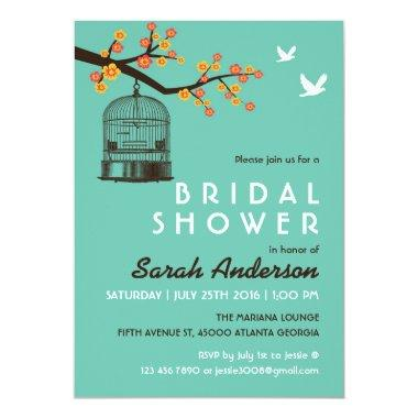Teal Bird Cage Flower Bridal Shower Invitations