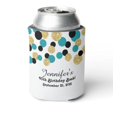 Teal, Black and Gold Glitter Confetti | 40th Can Cooler