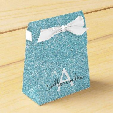 Teal Blue Aqua Glitter & Sparkle Monogram Favor Box