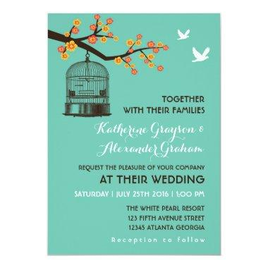 Teal Blue Bird Cage Floral Wedding Invitations