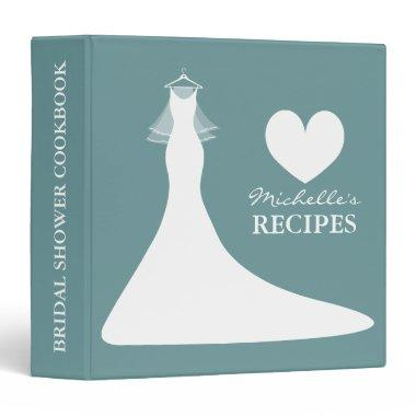Teal blue  cookbook recipe binder