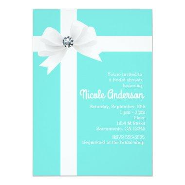 Teal Blue Bridal Shower White Bow & Diamond Invitations