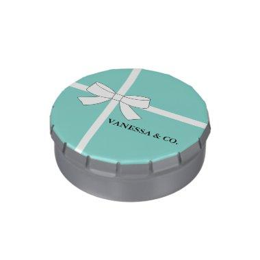 Teal Blue Party Shower Favors Candy Tin