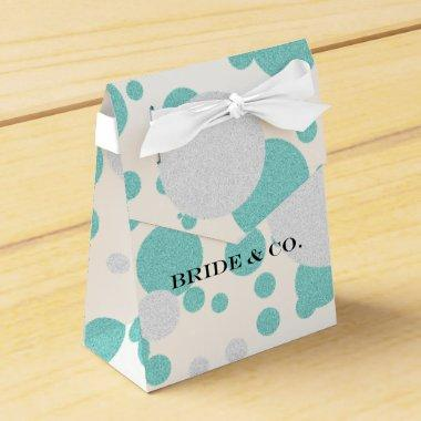 Teal Blue Shimmer Polka Dot Wedding Favor Boxes