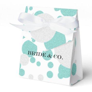 Teal Blue Shimmer Polka Dot Wedding Favor Boxes