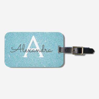Teal Blue Sparkle Glitter Monogram Name Luggage Tag