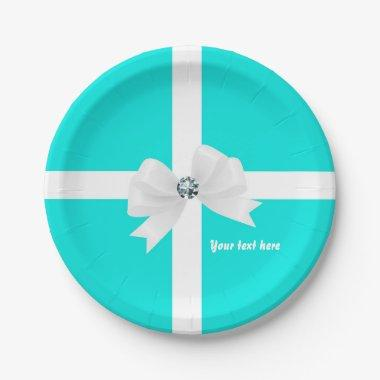 Teal Blue & White Elegant Glam Diamond Bow Paper Plate