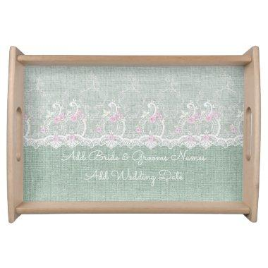 Teal Burlap and Lace Serving Tray