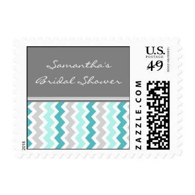 Teal Chevron  Wedding Stamps