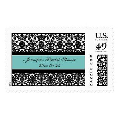 Teal Damask  Wedding Stamps