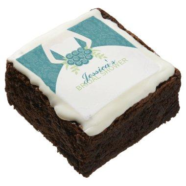 Teal Damask Elegant Bride  Brownie