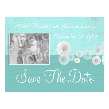 Teal Flower Save the Date Photo Invitation PostInvitations