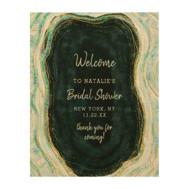 Teal Green & Gold Agate Bridal Shower Welcome Sign