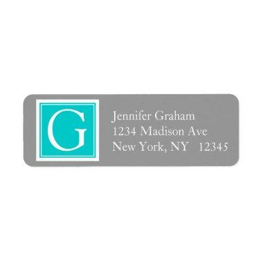 Teal Grey Simple Modern Monogram Label