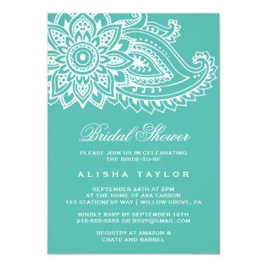Teal Indian Paisley Bridal Shower Invitations