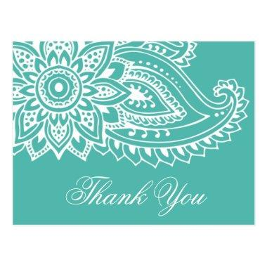 Teal Indian Paisley Thank You PostInvitations