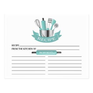 Teal Kitchen Tools Bridal Shower Recipe Invitations