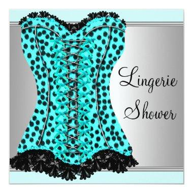 Teal Leopard Corset Lingerie Bridal Shower Invitations