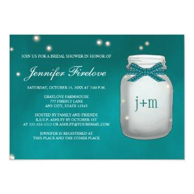 Teal Monogrammed Firefly Mason Jar Bridal Shower Invitations
