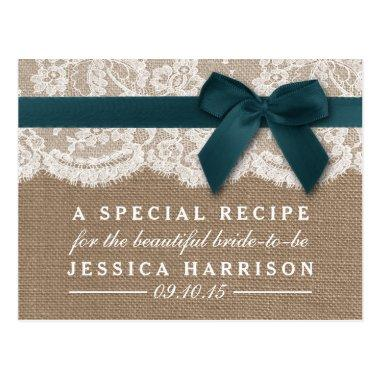 Teal Ribbon On Burlap & Lace Bridal Shower Recipe PostInvitations