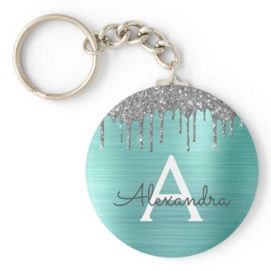 Teal Silver Glitter Stainless Steel Monogram Keychain