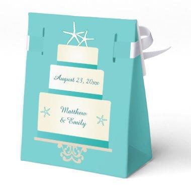 Teal Starfish Wedding Cake Favor Box
