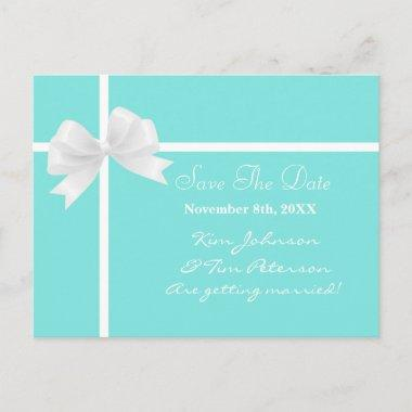 Teal Turquoise Blue & Bow Wedding Save the Date Announcement PostInvitations