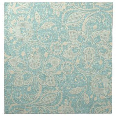 Teal Turquoise Floral Lace Napkin