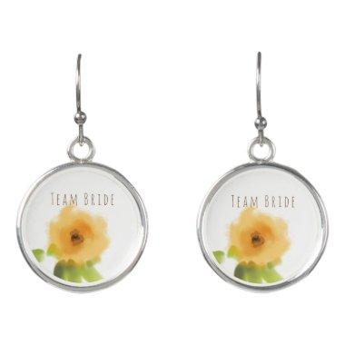 Team Bride CHEERFUL YELLOW ORANGE FLOWERS Earrings