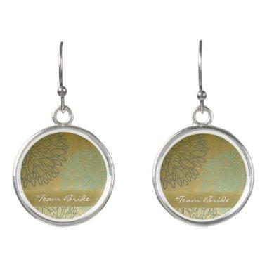 Team Bride GLAMOROUS BLUE & GOLD DAHLIA PATTERN Earrings