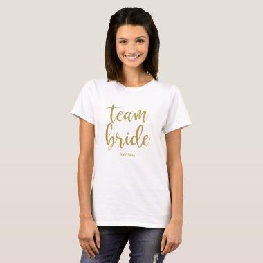 Team Bride Gold Glitter Bachelorette T-Shirt