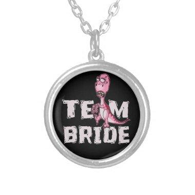 Team Bride Pink Dinosaur  Silver Plated Necklace