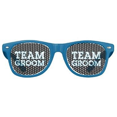 Team Groom Blue Outline Black Retro Sunglasses