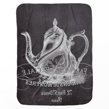 teapot vintage Chalkboard bridal shower tea party Receiving Blanket