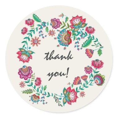 Thank you | Boho | Flower Wreath | Round Sticker