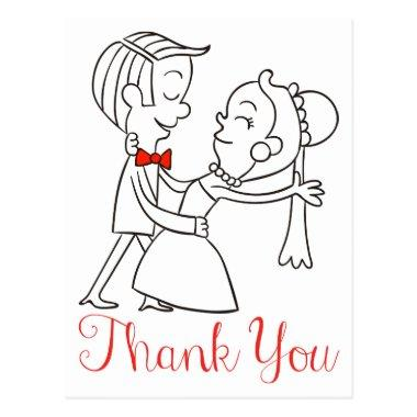 Thank You Bride And Groom Black And White Wedding PostInvitations