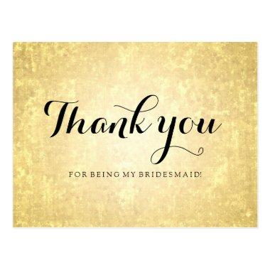 Thank You Bridesmaid Gold Foil Look Stars Confetti Post