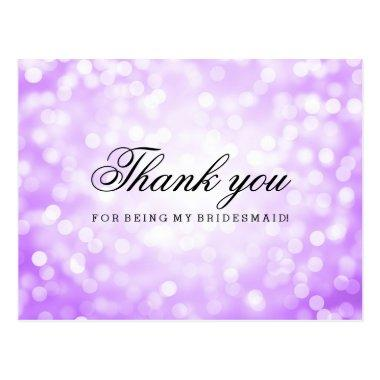 Thank You Bridesmaid Purple Glitter Lights Post