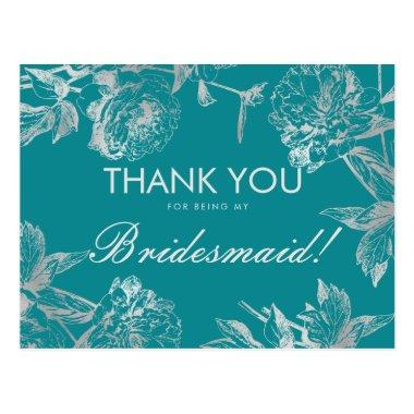 Thank You Bridesmaid Silver Teal Simple Floral PostInvitations