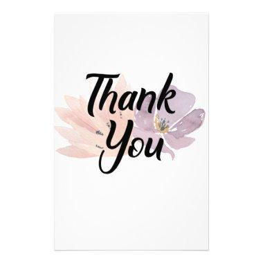 Thank You Favor Floral Stationery