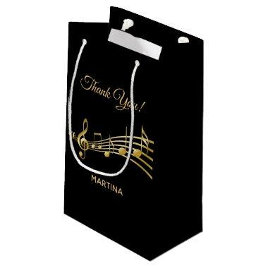 Thank You gold music notes on elegant black Small Gift Bag