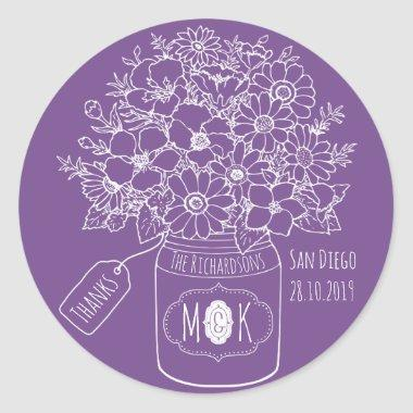 Thank You Monogram Wildflowers Bouquet Mason Jar Classic Round Sticker