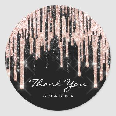 Thank You Name 16th Bridal Shower Rose Glitter Classic Round Sticker